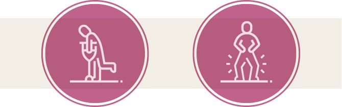 変形性膝関節症の末期の症状を表したピクトアイコン